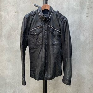 All Saints Distressed Leather Shirt Jacket